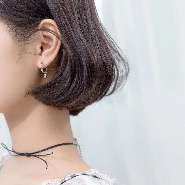 No.17フープピアススターリングピアス韓国ファッション925シルバージルコニア レディースのアクセサリー(ピアス)の商品写真
