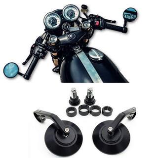 バイクミラー バーエンドミラー CNC 汎用 丸形 ブラック 左右セット