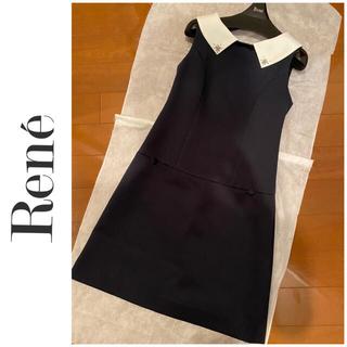 René - 11/28最終定価6.4万美品ルネ36☆リミテッド☆ネイビー白襟ワンピース
