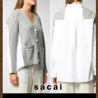 サカイ(sacai)のサカイ sacai 未使用✰ 人気 シャツ コンビ アラン カーディガン ニット(カーディガン)