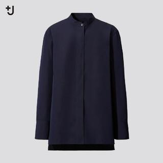 ユニクロ(UNIQLO)のユニクロ +J スーピマコットンスタンドカラーシャツ ネイビー S(シャツ/ブラウス(長袖/七分))