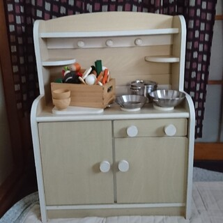 イケア(IKEA)の木のおもちゃ おままごと全部セット~キッチン、調理器具、材料セット(知育玩具)