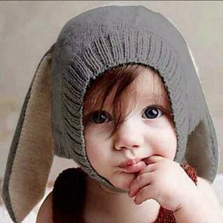 秋冬幼児幼児ニットベビー帽子愛らしいウサギの長い耳バニービーニーキャップ