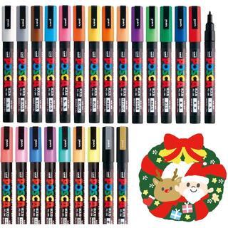 ミツビシエンピツ(三菱鉛筆)の三菱鉛筆 のポスカ 水性サインペン 細字丸芯 PC-3M 全24色セット(ペン/マーカー)