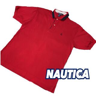 ノーティカ(NAUTICA)の【NAUTICA】ノーティカ レッドポロシャツ ワンポイント刺繍 大きめM(ポロシャツ)