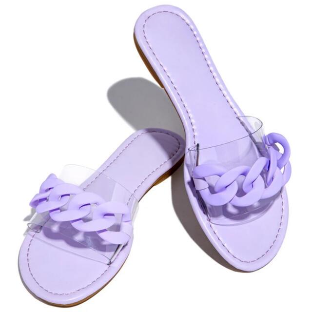 ZARA(ザラ)の新品 🇺🇸 MISSLOLA フラットサンダル パープル 22.5 レディースの靴/シューズ(サンダル)の商品写真