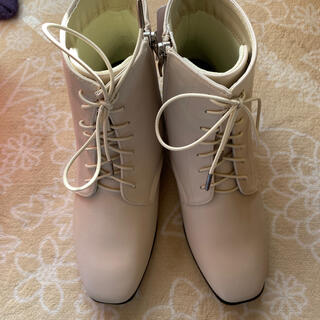 シマムラ(しまむら)のしまむら  プチプラのあや オンライン限定 インヒールゴム紐ブーツ 淡白 L(ブーツ)
