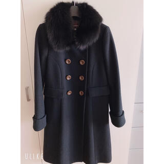 JUSGLITTY - ロングコート フォックスファーウールコート 襟ファー 日本製