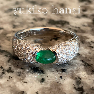ユキコハナイ(Yukiko Hanai)のPt900天然エメラルド0.52天然ダイヤモンド0.92 12号リング(リング(指輪))