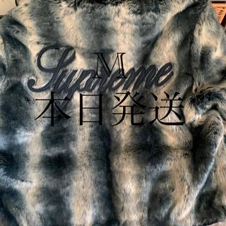 シュプリーム(Supreme)のFaux Fur Reversible Hooded  M  ブルー(毛皮/ファーコート)
