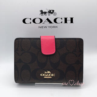 COACH - ✯新品✯COACH 二つ折り財布 ダークブラウン×ビビットピンク 箱🎀袋付き♪