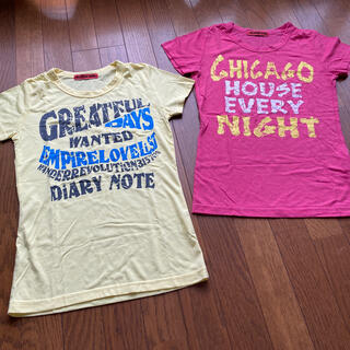 Tシャツ2枚セット 半袖 英字 Tシャツ ピンク 黄色