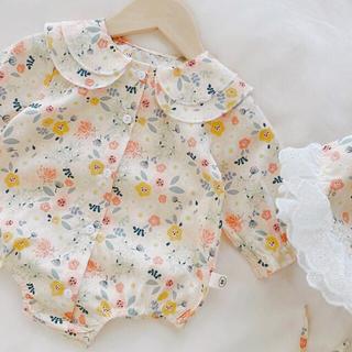 花柄 ロンパース ベビー 帽子付き フリル 女の子 60 70 長袖 韓国