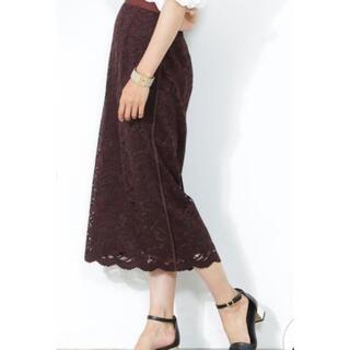 ロペ(ROPE)のロペ リーフレースミディタイトスカート ブラウン(ひざ丈スカート)