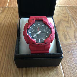 カシオ(CASIO)のCASIO G-SHOCK GA-100B ほぼ新品状態 レッド(腕時計(デジタル))