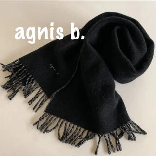 アニエスベー(agnes b.)のagnis b, アニエスベー 中判 マフラー 黒(マフラー/ショール)