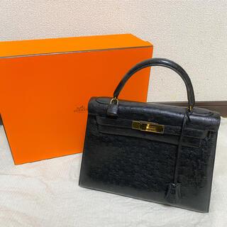 Hermes - 美品 エルメス 正規品 ケリー 28 オーストリッチ 外縫 ○P G金具 バッグ