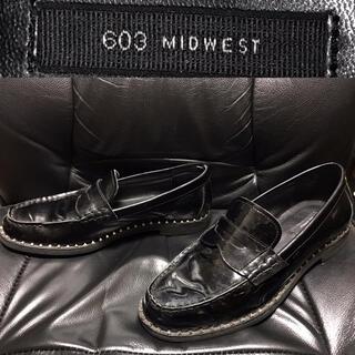 ミッドウエスト(MIDWEST)のMIDWEST送料込ミッドウエスト定価2万程エナメル革レザーローファー靴スタッズ(その他)