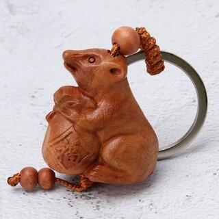 ★商売繁盛★万物好転★ネズミの開運キーホルダー★3D彫刻工芸品/ピンクのギフト袋(彫刻/オブジェ)