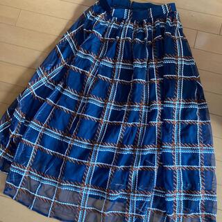 Rirandture - 新品タグ付き定価16000円 リランドチュール チェックロングスカート ネイビー