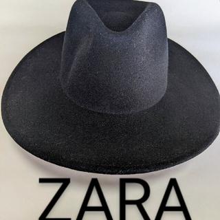 ザラ(ZARA)のZARAザラ 『新品未使用』中折れハット 黒 ブラック(ハット)