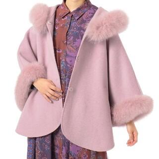 GRACE CONTINENTAL - グレースコンチネンタル FOXファー付フードポンチョ フォックス コート ピンク
