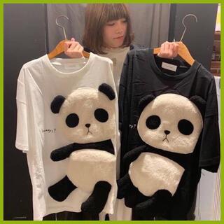 パンダTシャツ ビッグサイズ ゆったり トップス  Tシャツ パンダ 黒/白(Tシャツ(半袖/袖なし))