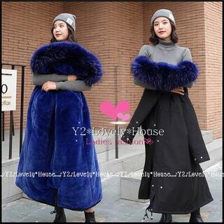 【~3L(4L)相当】W-ZIP裏ボア&ファー付フード中綿ロングコート*黒藍(ロングコート)