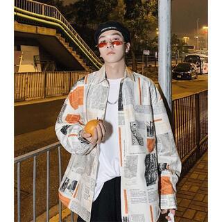 ビッグシルエット ニュースペーパー 柄 シャツ ストリート 韓国ファッション(シャツ)