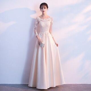 匿名配送 ロングドレス エレガント 長袖 パーティー 結婚式 二次会 2XL(ロングドレス)