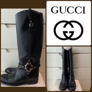Gucci - GUCCI ブラックレザー ロングブーツ