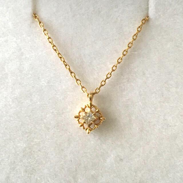 agete(アガット)のアガットK18イエローゴールド一粒ダイヤモンドネックレス agete レディースのアクセサリー(ネックレス)の商品写真