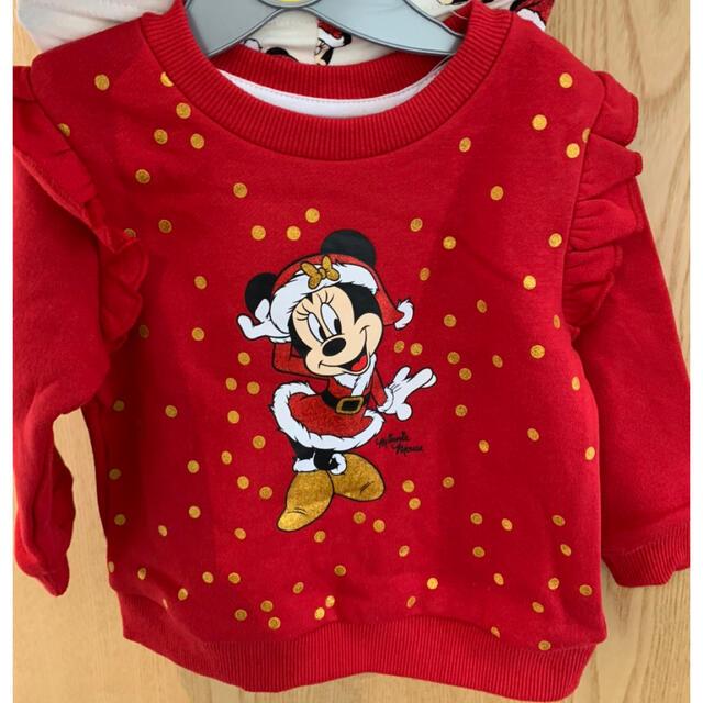 Disney(ディズニー)のDisneyクリスマス子ども服セット80〜85 キッズ/ベビー/マタニティのベビー服(~85cm)(Tシャツ)の商品写真