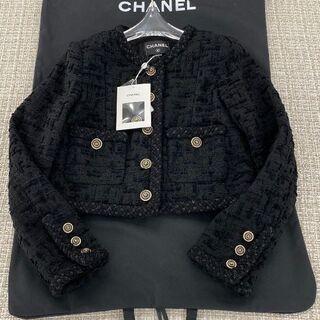 CHANEL - CHANEL ツイード ブラックスーツ テーラードジャケット 36