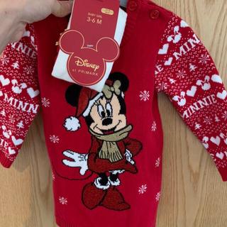 Disney - Disneyミニーニットワンピースタイツつき68㎝