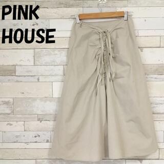 ピンクハウス(PINK HOUSE)の【人気】ピンクハウス バックレースアップ ミモレ丈 スカート ベージュ サイズL(ロングスカート)