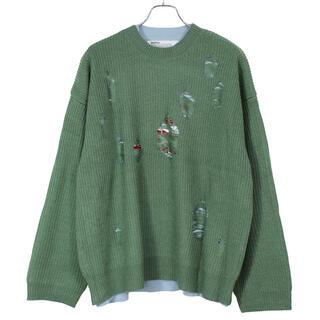 dairiku layered damage knit ダメージニットgreen