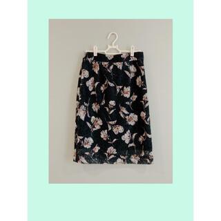 Mew's - 【Mew's】フラワーレースタイトスカート ブラック