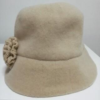ALPHA CUBIC - ウール混 婦人 帽子 ハット ベージュ ALPHA CUBIC