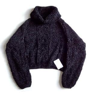 GRL - 新品 GRL グレイル オフタートルネック 黒 ニット セーター ケーブル編み