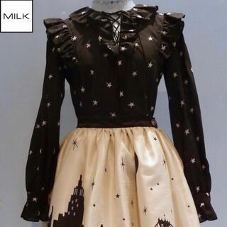 ミルク(MILK)のMILK ブリリアントブラウス ブラック×シルバー(シャツ/ブラウス(長袖/七分))