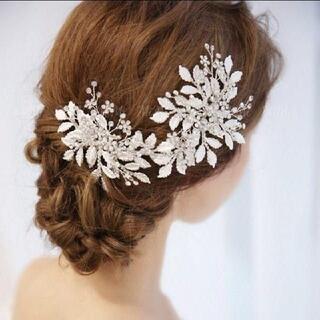 新品☆ヘッドドレス ヘアアクセサリー ブライダル シルバー 結婚式 ウエディング(ウェディングドレス)