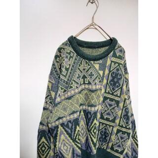 アートヴィンテージ(ART VINTAGE)の幾何学模様 総柄ニット デザインセーター(ニット/セーター)