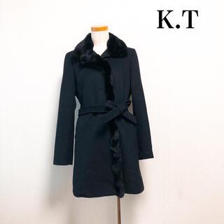 コムサデモード(COMME CA DU MODE)のK.T アンゴラウールロングコート ラビットファー 黒 日本製 上品高級❤️ 冬(ロングコート)
