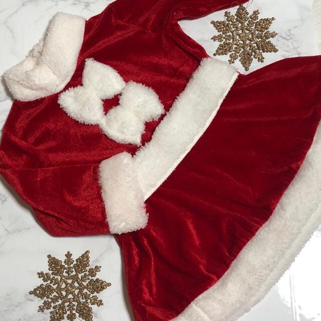 90 クリスマス Xmas サンタ コスプレ 女の子 コスチューム ワンピース キッズ/ベビー/マタニティのキッズ服女の子用(90cm~)(ワンピース)の商品写真