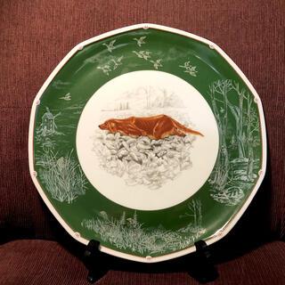 エルメス(Hermes)のHERMES エルメス 絵皿 犬柄プレート グリーン 10角(食器)