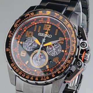 セイコー(SEIKO)の【新品即納】セイコー 高級 メンズ腕時計 フライト クロノグラフ 44mm 黒(腕時計(アナログ))