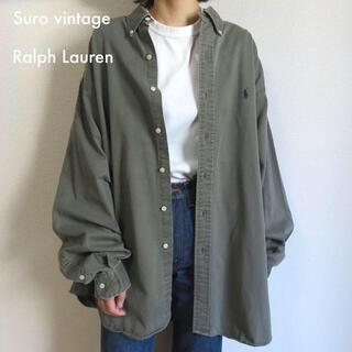 POLO RALPH LAUREN - 90s ラルフローレン 刺繍ロゴ シャツ カーキ×パープル 古着女子