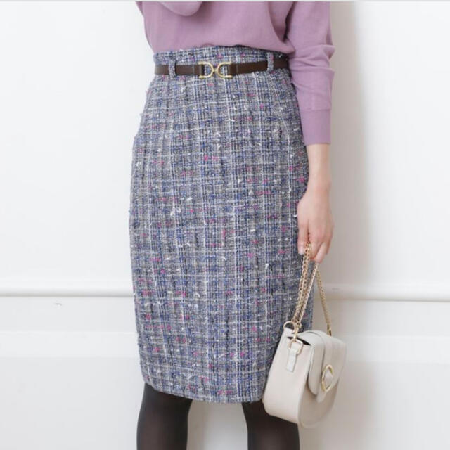 JUSGLITTY(ジャスグリッティー)のジャスグリッティ★ベルト付ツイードスカート レディースのスカート(ひざ丈スカート)の商品写真