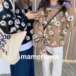 韓国ファッション♡服 オルチャン フラワーボアプルオーバー ニット